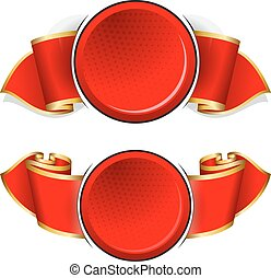 Red round frame with ribbon