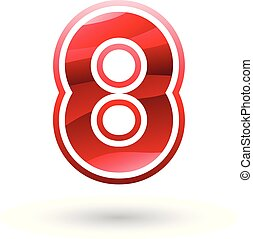 Red Round Icon for Number 8 Vector Illustration