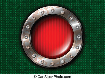 Red round lamp with rivets
