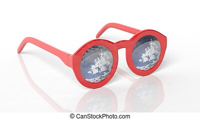 Red round-lens sunglasses with blue sky, clouds and sun reflection on lens , isolated on white background.