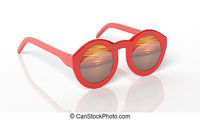 Red round-lens sunglasses with sunset reflection on lens , isolated on white background.