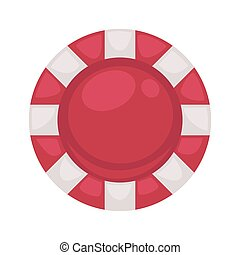 Red round poker chip with striped edge isolated illustration...