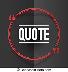 Red round quote frame at black folded paper background