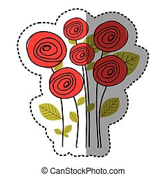 red round roses with leaves icon