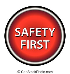 Red round safety first icon
