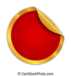 Red round sticker isolated. Vector illustration