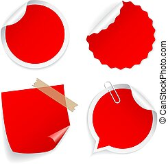 Red round vector stickers collection
