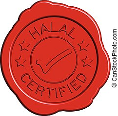 Red round wax seal of wording halal certified with mark icon on white background