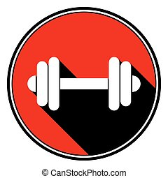 red round with black shadow - white dumbbell icon