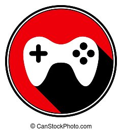 red round with black shadow - white gamepad icon