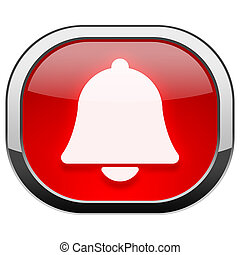 Red rounded square button - Bell