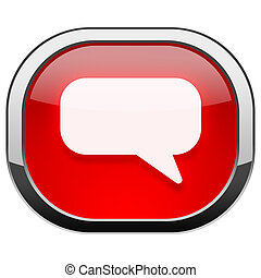 Red rounded square button - chat