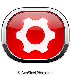 Red rounded square button - Gear