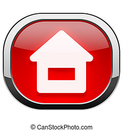 Red rounded square button - Home