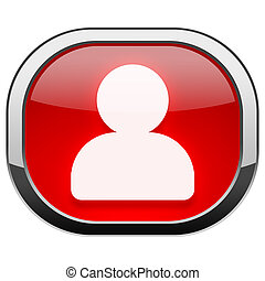Red rounded square button - Person