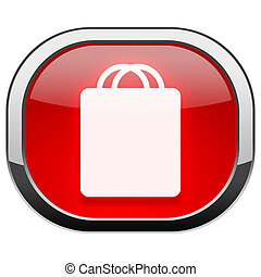 Red rounded square button - Shopping bag