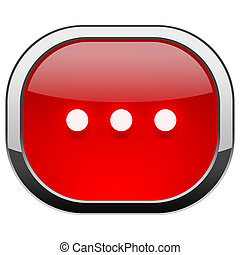 Red rounded square button - Three dots horizontal