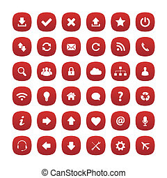 Red rounded square icons