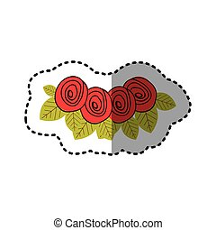 red rounds roses with leaves icon