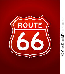 White lineart illustration of Route 66 Sign on red background