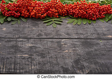red rowan berries with leaves on the table