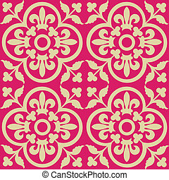 Red royal pattern. Seamless wallpaper. Retro background