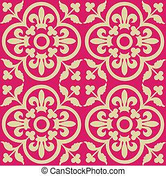 Red royal pattern. Seamless wallpaper. Retro background