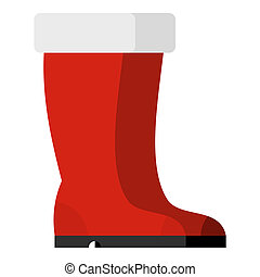 Red rubber boots icon, flat style