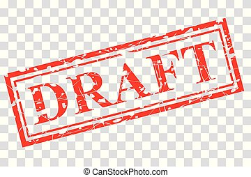 red rubber stamp effect, draft at transparent effect background