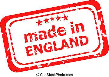Red rubber stamp of made in england