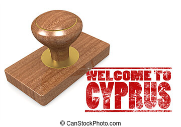 Red rubber stamp with welcome to Cyprus