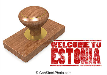 Red rubber stamp with welcome to Estonia