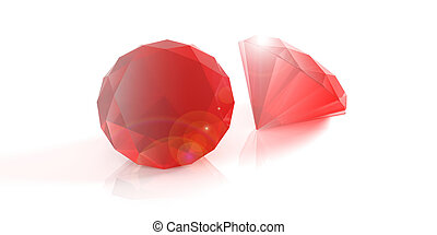 Red rubies on white background. 3d illustration