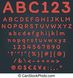 Red ruby crystal font for abstract polygonal text