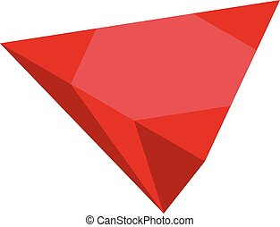 Red ruby icon, isometric style