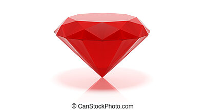 Red ruby on white background. 3d illustration