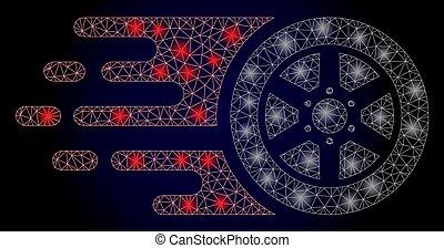 red, rueda, coche, puntos, polygonal, bolide, luz, brillante