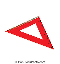 red ruler in the form of a triangle. Vector illustration