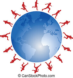 red runners around the blue world