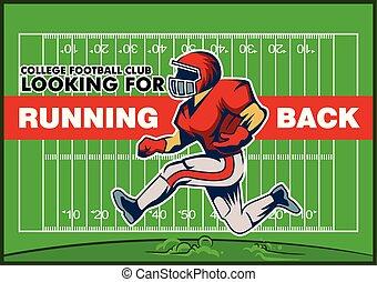 Red Running Back Recruitment Poster - Vector illustration...