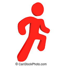 Red Running Person - A red human icon in a running pose