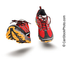 Red running sport shoes seen front, isolated on white...