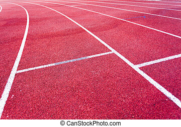 Red running track field