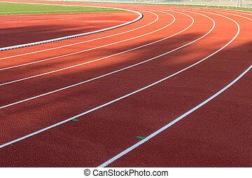 Red running track stadium