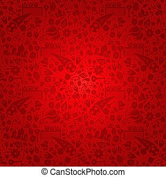 Red Russia background with russian icons