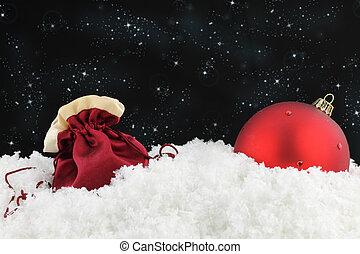 Red sack and Christmas ball -  Red sack and Christmas ball