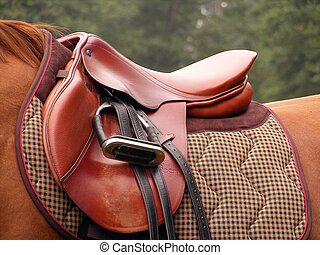 Beautiful red leather english saddle with stirrups on brown horse