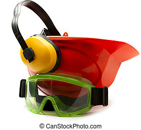 Red safety helmet with earphones and goggles