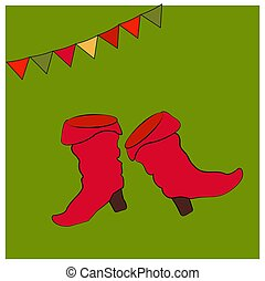 Red saffian boots. Card with objects of the national Russian costume. Shoes with heels. Symbols of the holiday Shrovetide or Maslenitsa.