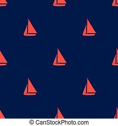 Red sail on dark blue background. Seamless pattern.